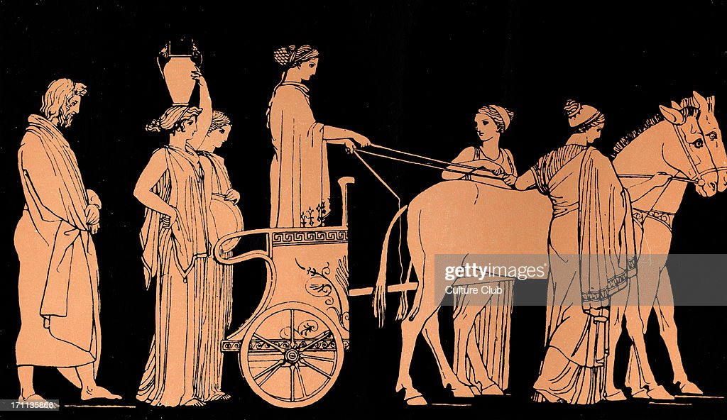 Homer, The Odyssey.  Ulysses (Odysseus) follows the car of Nausicaa, daughter of  King Alcinous and Queen Arete of the Phaeacians. : News Photo