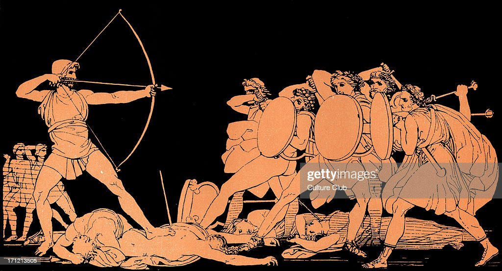 Homer, The Odyssey.   Ulysses (Odysseus) killing the Suitors of his wife Penelope on the island of Ithaca : News Photo