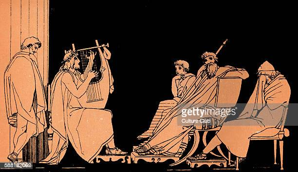 Homer The Odyssey Ulysses weeps at the song of Demodocus Alcinous King of the Phaeacians Minstral playing a Kithara Homer blind Greek poet c 800 600...