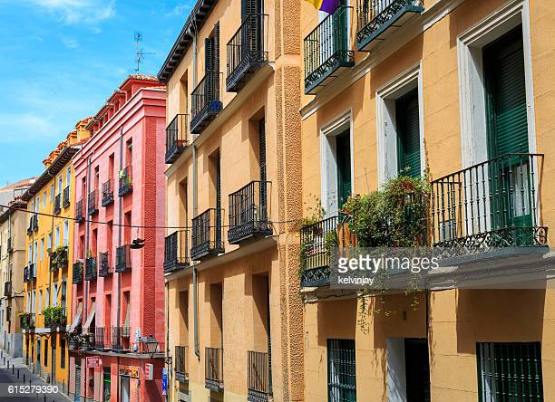 Homes and apartments on a street in Lavapies, Madrid, Spain