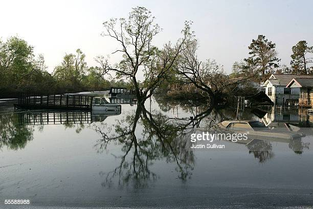 Homes and cars are submerged in water September 15 2005 in the Lakeview District of New Orleans Louisiana Water levels remain high in some areas...