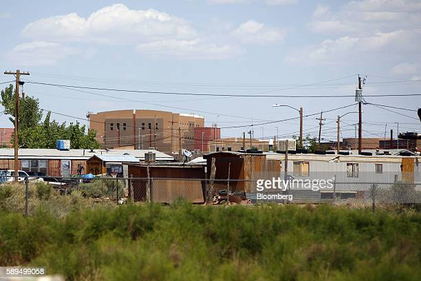 Homes and public buildings are seen during a campaign event for Representative Ann Kirkpatrick a Democrat from Arizona not pictured on the Navajo...