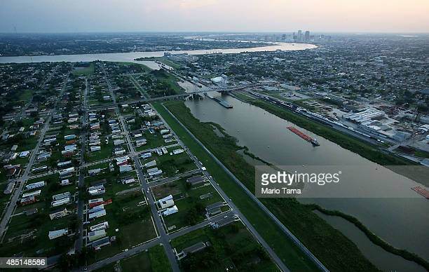 Homes and vacant lots stand in the Lower Ninth Ward in front of the Industrial Canal and downtown New Orleans on August 24 2015 in New Orleans...