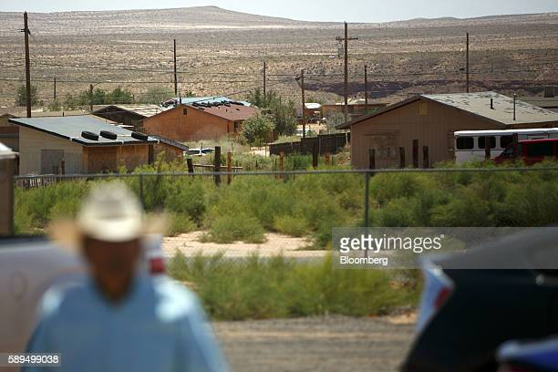 Homes are seen during a campaign event for Representative Ann Kirkpatrick a Democrat from Arizona not pictured on the Navajo Nation Native American...