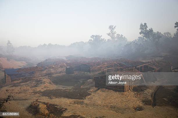 Homes are seen in the Balu Kali Rohingya refugee camp on January 19 2017 in Coxs Bazar Bangladesh More than 65000 Rohingya Muslims have fled to...
