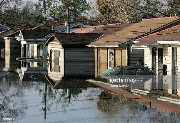 Homes are submerged in water September 15 2005 in the Lakeview District of New Orleans Louisiana Water levels remain high in some areas around New...