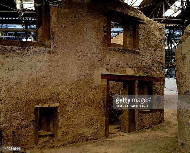 Homes at the archaeological site of Akrotiri on Thera now Santorini Greece Minoan civilization 16th Century BC