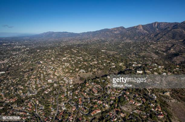 Homes built along the hillsides of 'The Riviera' are viewed in this aerial photo on February 23 in Santa Barbara California A combined series of...