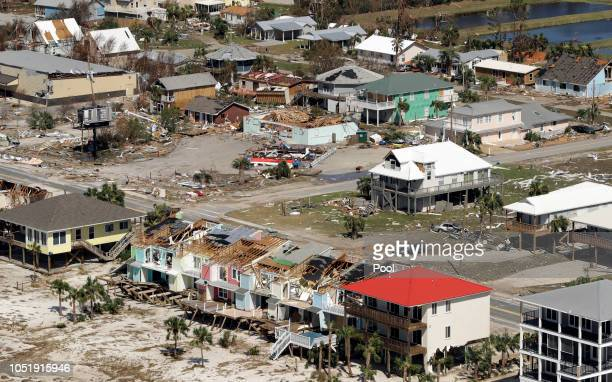 Homes destroyed by Hurricane Michael are shown from the air October 11 2018 in Mexico Beach Florida At least seven deaths have been attributed to...