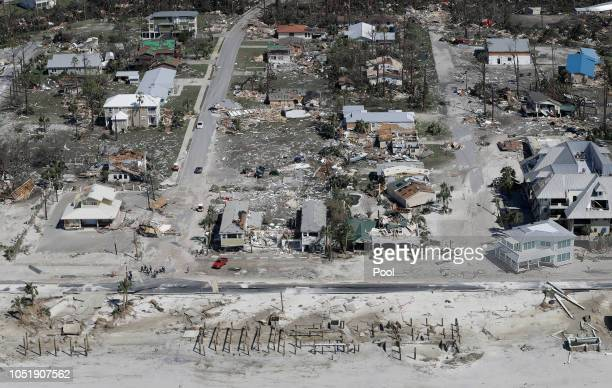 Homes destroyed by Hurricane Michael are shown in this aerial photo on October 11 in Mexico Beach Florida The hurricane hit the panhandle area with...