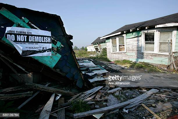 Homes destroyed during Hurricane Katrina are used for a movie filming site in the Lower 9th Ward in New Orleans