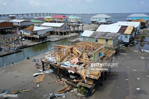 Homes destroyed in the wake of Hurricane Ida are shown September 2, 2021 in Grand Isle, Louisiana. Ida made landfall August 29 as a Category 4 storm...