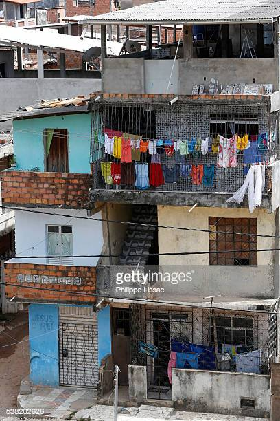 homes in alagados favela - slum stock pictures, royalty-free photos & images