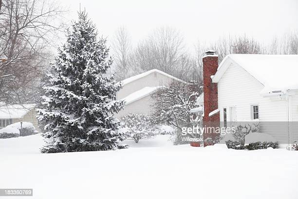 homes in suburban neighborhood blizzard snow storm buried - blizzard stock pictures, royalty-free photos & images