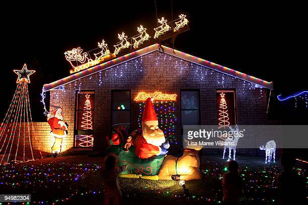 Homes in suburban Sydney are decorated with Christmas lights and illuminations in Matraville on December 21 2009 in Sydney Australia The struggling...