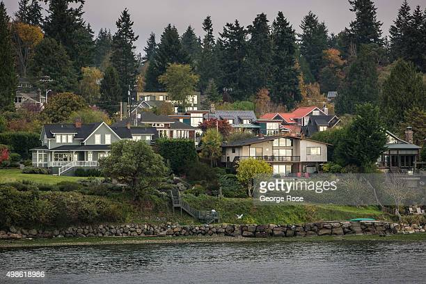 Homes nestled in the woods are viewed on November 4 in Bainbridge Island, Washington. Seattle, located in King County, is the largest city in the...