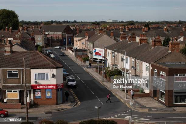 Homes on the edge of the town centre on October 8 2018 in Grimsby England Grimsby was once home to the largest fleet of fishing trawlers in the UK...