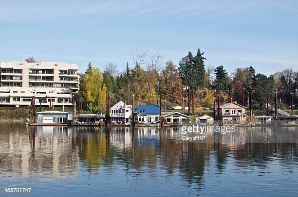 Häuser am Willamette River Portland Oregon Hausboote Wohnung
