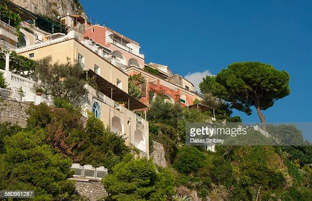 Homes perched on the steep cliffs of Positano