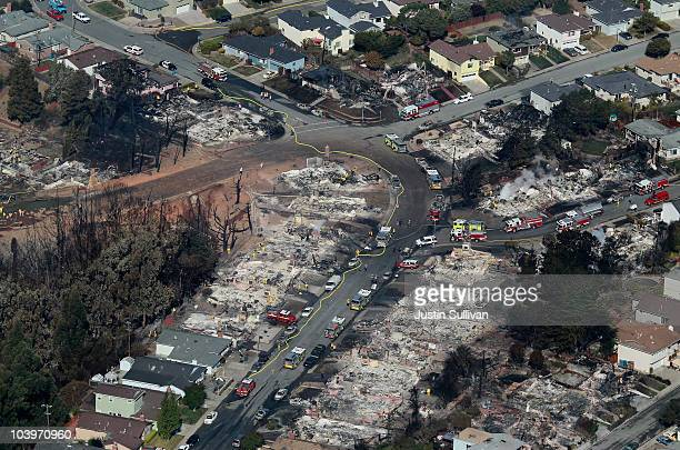Homes sit destroyed by a massive explosion and fire September 10 2010 in San Bruno California Thirty eight homes were destroyed and four people were...