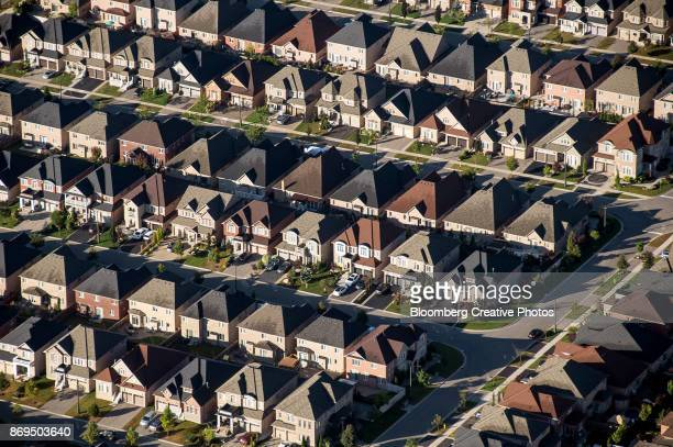 Homes stand in this aerial photograph taken above Toronto, Ontario, Canada