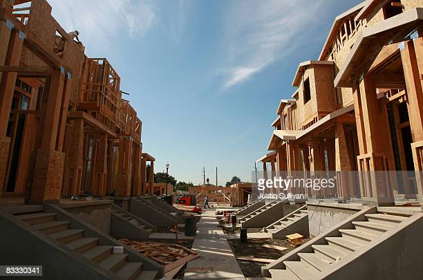 Homes stand under construction at a new housing development October 17 2008 in Hayward California Construction of new homes fell 63 percent in...