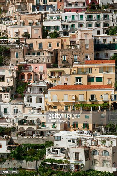 Homes terraced into the steep cliffs of Positano