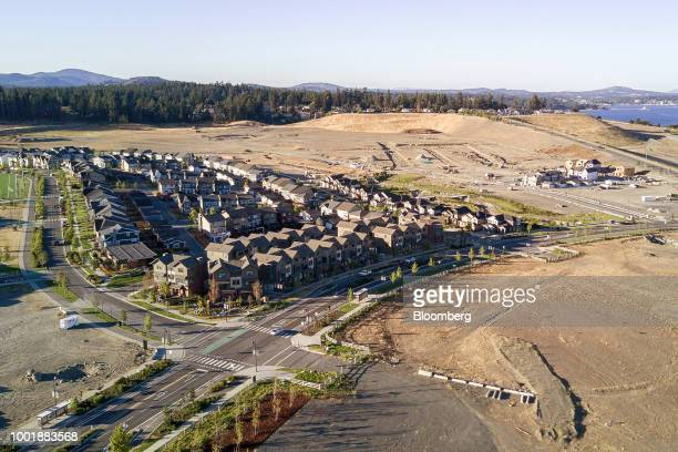 Homes under construction are seen in this aerial photograph taken above the Langford suburb of Victoria British Columbia Canada on July 14 2018...