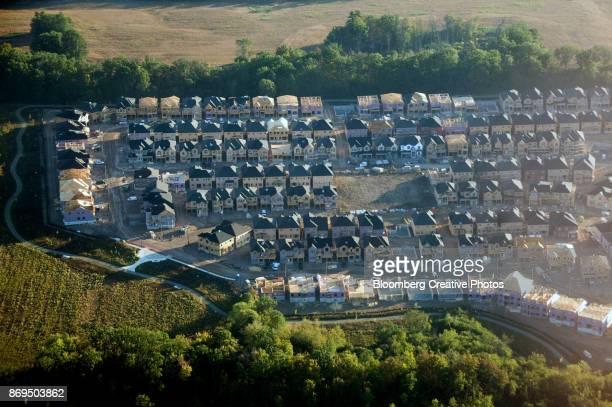 Homes under construction taken above Toronto, Ontario, Canada
