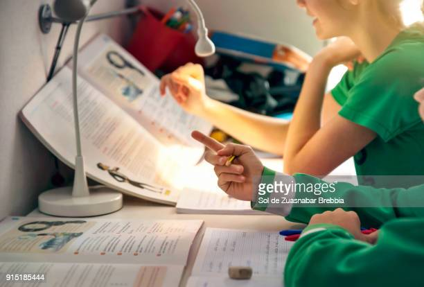 homeschooling. children doing homework at home. - kin in de hand stock pictures, royalty-free photos & images