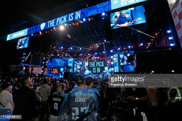 Hometown fans of the Tennessee Titans react after their first round pick of Jeffery Simmons is announced on day 1 of the 2019 NFL Draft on April 25...