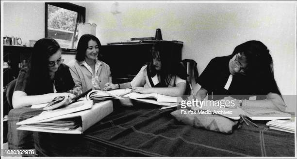 Homework stress in the homeAnthea Josephine and Harriet Spinks with mother Sue Spinks February 28 1991