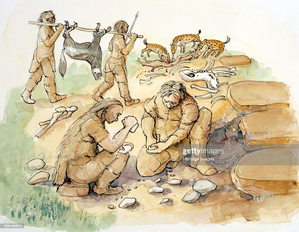 Hominids and Hyenas, Upper Paleolithic, (c1990-2010) : News Photo