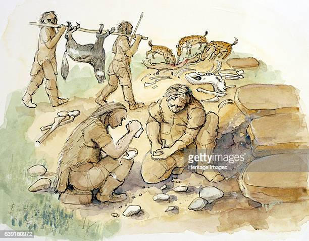 Hominids and Hyenas Upper Paleolithic Glaston Rutland Reconstruction drawing of hominids and hyenas Middle to Upper Palaeolithic period dating to...