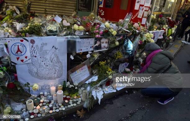 Hommage aux victimes des attentats de Paris devant le restaurant 'La Belle Equipe' le 22 novembre 2015, Paris France.