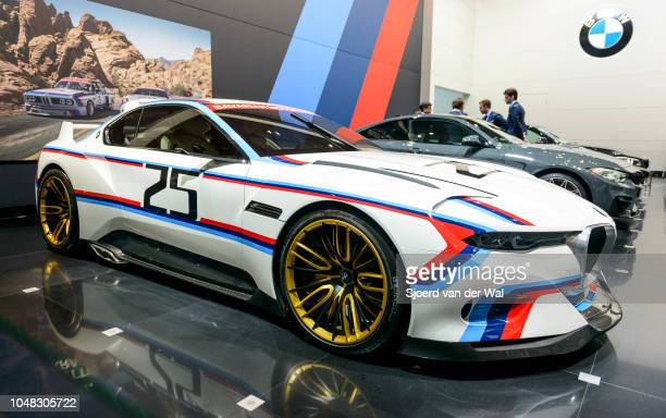 Hommage R concept car on display at Brussels Expo on January 13 2017 in Brussels Belgium The BMW 30 Hommage R is a tribute to the classic 30 CSL...