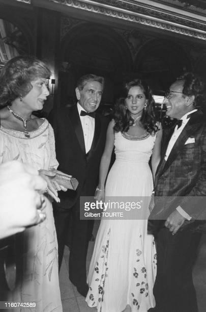 L'homme d'affaires saoudien Akram Ojjeh et sa femme arrivent à l'Hotel de Paris pour un bal à MonteCarlo le 8 aout 1979 Monaco