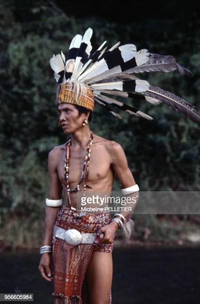 Homme du peuple Iban en costume guerrier traditionnel en septembre 1978 sur l'île de Bornéo Malaisie