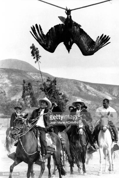 Hommes à cheval lors de la cérémonie péruvienne 'El Condor Rachi' en décembre 1979 dans la vallée de Callejon de Huaylas Pérou