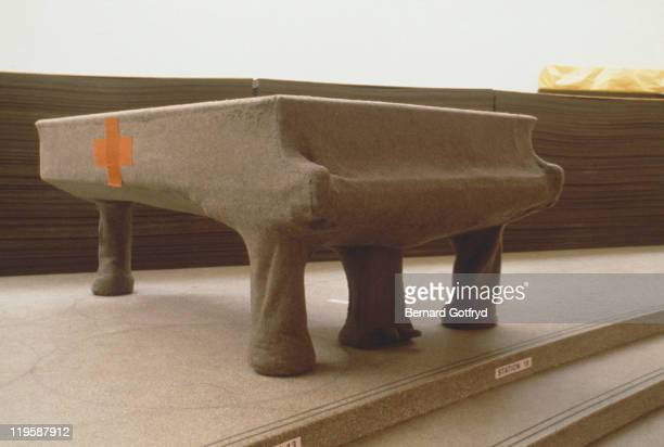 'Homogeneous Infiltration for Piano' a 1966 sculpture consisting of felt and leather around a grand piano by German artist Joseph Beuys on display at...