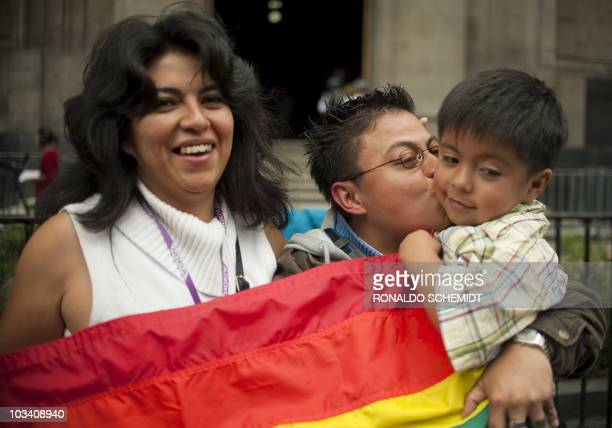 Homosexual couple Ana Cruz and Cynthia Juarez with their four-year-old child Tonali, celebrate the approval of the homosexual adoption, in Mexico...
