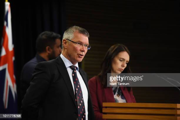 Hon David Parker speaks at a press conference with Prime Minister Jacinda Adern on August 6 2018 in Wellington New Zealand Prime Minister Ardern and...