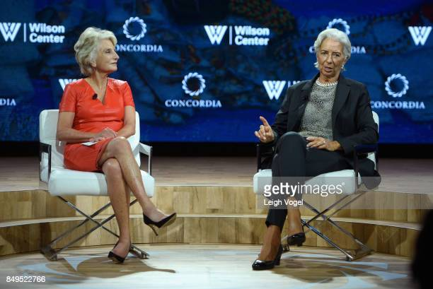 Hon Jane Harman Director President and CEO Wilson Center and Christine Lagarde Managing Director International Monetary Fund speak at The 2017...