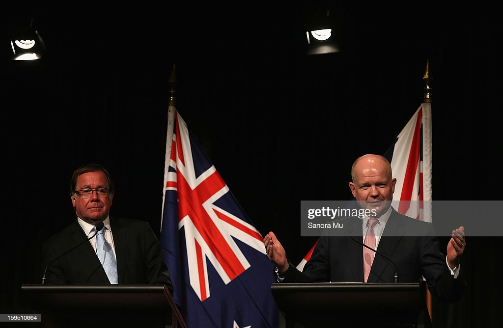 Hon Murray McCully, New Zealand Minister of Foreign Affairs (L) and Rt Hon William Hague, Secretary of State for Foreign and Commonwealth Affairs United Kingdom of Great Britain and Northern Ireland speak to media representatives at the joint media conference after a Bilateral meeting at The Langham Hotel on January 15, 2013 in Auckland, New Zealand. The Right Honourable William Hague is visiting New Zealand for bilateral meetings and a tour through the red zone of earthquake stricken Christchurch.