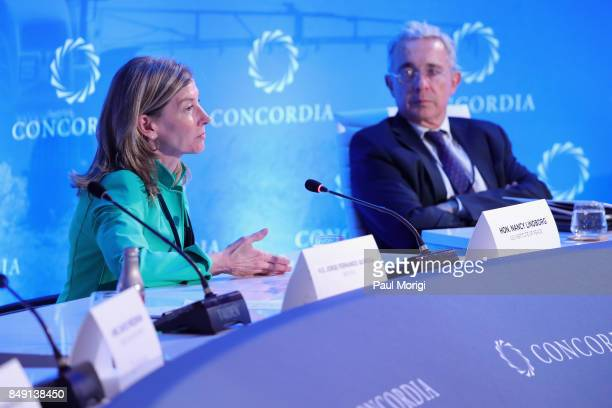 Hon Nancy Lindborg President United States Institute of Peace and HE Alvaro Uribe Velez Former President Colombia speak at The 2017 Concordia Annual...