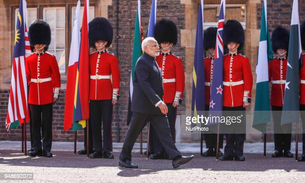 Hon Nerendra Modi of India arrives to the Executive Session of the Commonwealth Heads of Government in London England April 19 2018