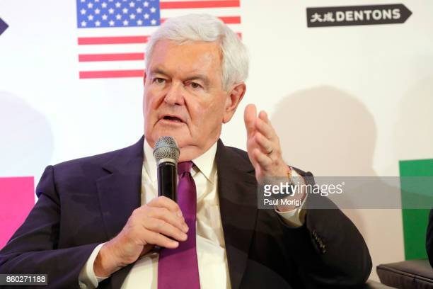 Hon Newt Gingrich speaks about Trump Trudeau and Nieto regarding NAFTA Negotiations at Dentons NAFTA 20 Summit on October 11 2017 in Washington DC