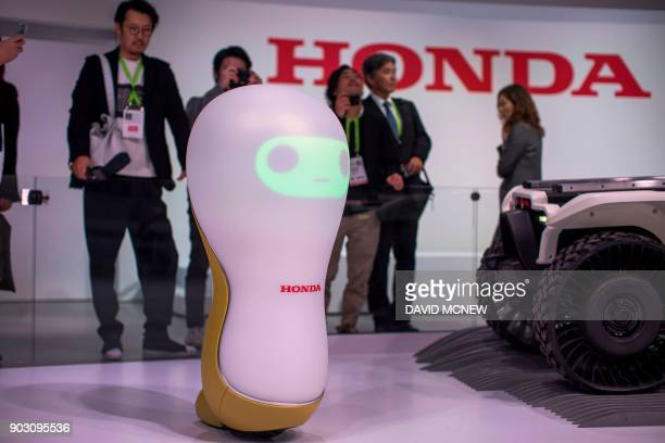 A Honda 3C18 concept robot is shown at CES in Las Vegas Nevada January 9 2018 / AFP PHOTO / DAVID MCNEW