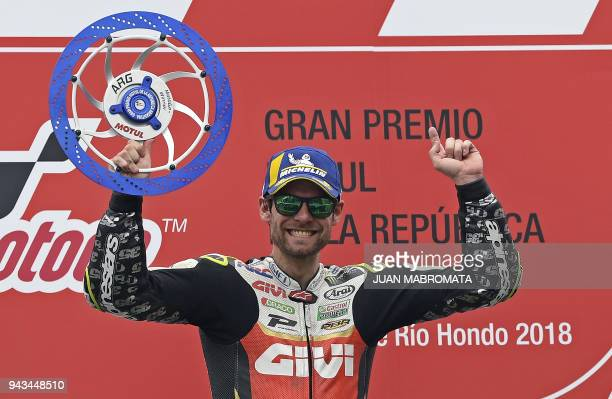 Honda biker Cal Crutchlow of Great Britain celebrates in the podium after winning the MotoGP race of the Argentina Grand Prix at Termas de Rio Hondo...