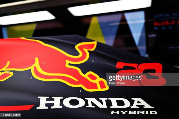 Honda branding is seen on the rear of the car of Alexander Albon of Thailand and Red Bull Racing during practice for the F1 Grand Prix of Japan at...